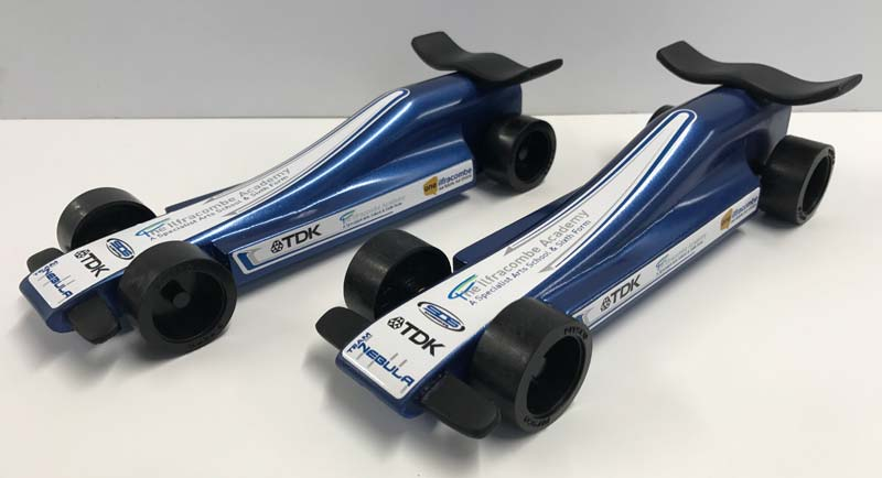 Team Nebula's miniature compressed air-powered balsa wood F1 cars