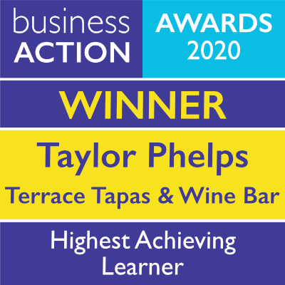 Taylor Phelps at Terrace Tapas & Wine Bar, Ilfracombe | Business Action Highest Achieving Learner Award 2020 winner | independent North Devon business magazine | North Devon business news
