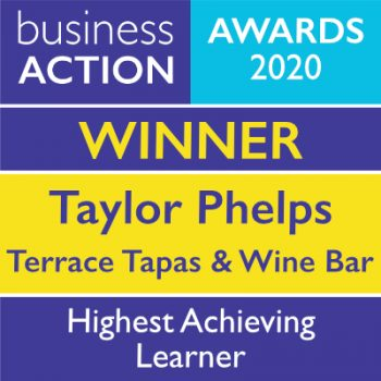 Taylor Phelps at Terrace Tapas & Wine Bar, Ilfracombe   Business Action Highest Achieving Learner Award 2020 winner   independent North Devon business magazine   North Devon business news